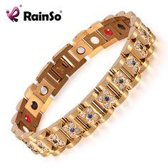 Elegant Crystal Rhinestone Bracelets & Bangles For Women Gold Plated Magnetic Fashion Health Bracelet Lady Jewelry OSB-1539GFIR