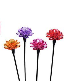 Loving this Mini Solar Flower Garden Stake - Set of Four on #zulily! #zulilyfinds