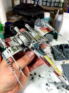 I was commissioned by a friend of mine to build four models to recreate the trench run from Star Wars; Vader, two TIEs, and Luke's Red I was excited abou. Star Wars Gifts, Star Wars Toys, Macross Valkyrie, Star Wars Spaceships, X Wing Miniatures, Star Wars Vehicles, Star Wars Merchandise, Star Wars Models, Star Wars Ships