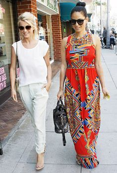 Newly single Julianne Hough, in pants by Parker, and pal Olivia Munn hit a Beverly Hills nail salon April 3.