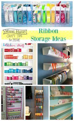 Ribbon Storage Ideas - The Scrap Shoppe Ribbon Organization, Ribbon Storage, Fabric Storage, Craft Organization, Organizing Tips, How To Make Ribbon, Diy Ribbon, Ribbon Crafts, Ribbon Sewing