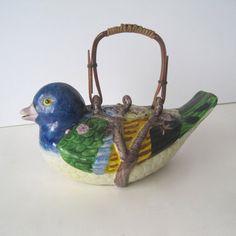 Vintage Bird Tea Pot by SugarLMtnAntqs on Etsy