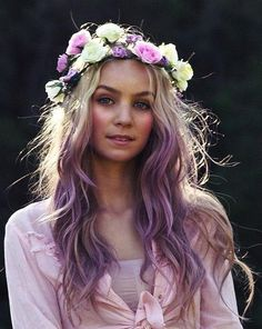 blonde, boho, girl, hair, headband, hippie, purple, roses