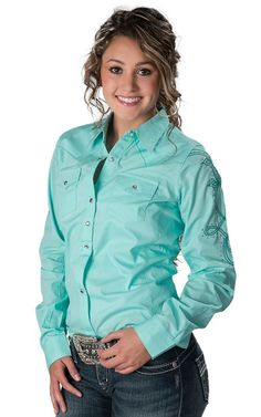 Roper® Women's Turquoise with Brown Embroidery Long Sleeve Western ...