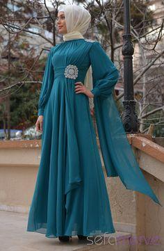 Sefamerve Abiye Elbiseler 1060-05 Petrol