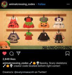 Animal Crossing Qr Codes Clothes, Animal Crossing Pocket Camp, Animal Crossing Game, Halloween Design, Halloween Themes, Halloween Costumes, New Leaf, Nerdy, Geek Stuff