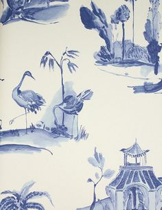 Palais Chinois Wallpaper Painterly chinese toile wallpaper in blue on cream Dark Colors, Light Colors, Vibrant Colors, Toile Wallpaper, Bedroom Wallpaper, Oriental Wallpaper, Asian Wallpaper, Chinoiserie Wallpaper, Bird Wallpaper