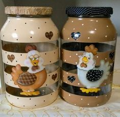 1 million+ Stunning Free Images to Use Anywhere Decoupage Glass, Decoupage Vintage, Glass Bottle Crafts, Bottle Art, Mason Jar Crafts, Mason Jar Diy, Chicken Crafts, Jar Design, Baby Food Jars