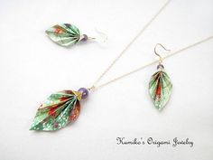 Set of Origami Leaf Earrings & Necklace with by KumikosOrigami, $41.00