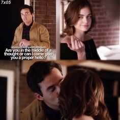"""""""Along Comes Mary"""" - Aria and Ezra Pretty Little Liars Quotes, Pretty Little Liers, Ezra And Aria, Ezra Fitz, Pll, Hunger Games, Tv Shows, Songs, Thoughts"""