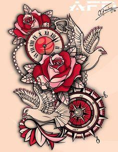 plantillas -de- tatuajes-diseños- de- relojes
