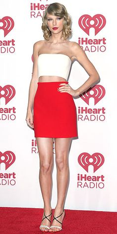 Newly crowned the Best Dressed star of the year, Taylor stuns in a bold but feminine Calvin Klein Collection ensemble and Christian Louboutin sandals at the iHeart Radio music festival in Las Vegas.