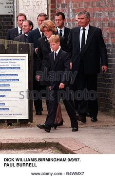 Princess Diana Funeral 6 September 1997 Lady Jane Fellowes Prince Harry and Prince Charles arrive at Northampton by train after - Stock Image