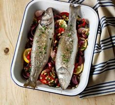 A simple but flavoursome oven-roasted fish supper that's easy to throw together. Serve it in the roasting tin for the ultimate dig-in dish, from BBC Good Food. Fish Recipes, Seafood Recipes, Bbc Good Food Recipes, Cooking Recipes, Creamy Pasta Bake, Baked Sea Bass, Fish Supper, Cheap Dinners, Just Cooking