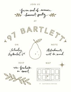 HARVEST PARTY  This little invitation was created for a very special harvest party. We moved into a house with a pear tree in the backyard, ...