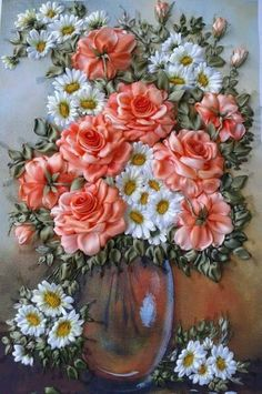 Wonderful Ribbon Embroidery Flowers by Hand Ideas. Enchanting Ribbon Embroidery Flowers by Hand Ideas. Ribbon Art, Diy Ribbon, Ribbon Crafts, Ribbon Flower, Folk Embroidery, Embroidery Stitches, Embroidery Patterns, Brother Embroidery, Japanese Embroidery