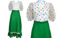 60s-70s Sheer Chiffon Rainbow Polka Dot Top #clothing #women #dress @EtsyMktgTool #sale #mardigrasdress Sheer Chiffon, Chiffon Dress, Dresses For Sale, Dress Sale, Folk Fashion, Ruffle Skirt, Green Dress, Rockabilly, Mardi Gras