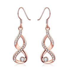 Shop today for Dangling Infinity Earrings Made with Swarovski Elements. Earring Dimensions: Stone Type: Certified Swarovski Crystals Metal Type: Rose Gold Plated Hypoallergenic Jewelry Comfort Fit Jewelry Made Crystal Earrings, Women's Earrings, Fashion Earrings, Infinity Earrings, 18k Rose Gold, Rose Gold Plates, Swarovski Crystals, Fine Jewelry, Jewellery