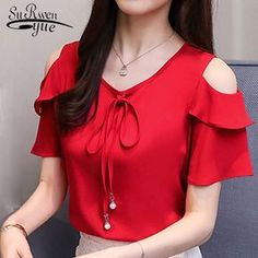 2018 de moda arco de cuello en dulce de las mujeres ropa de verano de manga corta de gasa camisa de las mujeres, blusas de mujer rojo tops blusas d667 30