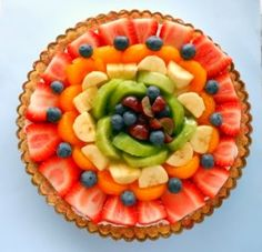 rainbow fruit pizza. My mom used to make us fruit pizza but used sugar cookie dough as the crust, not as healthy but more delicious.