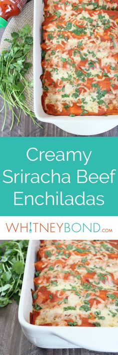 This enchilada recipe combines spicy ground beef with creamy sriracha sauce & lots of cheese for a delicious recipe that's quick and easy to make! Easy Delicious Recipes, Easy Soup Recipes, Sweet Potato Recipes, Brunch Recipes, Fall Recipes, Cooking Recipes, Drink Recipes, Healthy Recipes, Sriracha Recipes