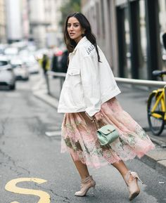 White denim & pastel lace
