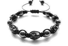 men's shamballa beaded bracelet handmade jewelry gift HEMATITE BLACK SKULL beads #Handmade #Shamballa #FormalandCasual