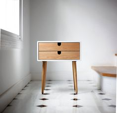 Created by Habitables 'White nightstand / Bedside Table Scandinavian Mid-Century Modern Retro Style with 1 or 2 drawers and legs made of oak wood' Wood Furniture, Furniture Design, Furniture Storage, Lacquer Furniture, Furniture Online, Bedroom Furniture, Casa Retro, White Nightstand, Wood Nightstand