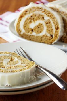 Roll up this pumpkin cake with a bourbon-vanilla frosting for fall!