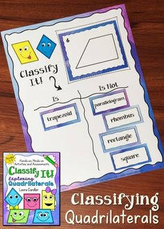 Awesome way to help your students master those tricky quadrilaterals! Laura Candler's new Classify It! Exploring Quadrilaterals pack includes a lesson, two quizzes, the cooperative learning sorting activity shown here, and a challenging (but fun!) math center game. $