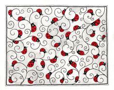 Ladybug doodle zentangle.