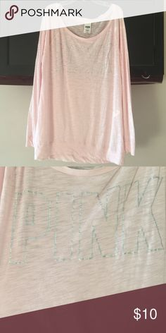 """Victoria's Secret PINK top Victoria's Secret PINK long sleeve top with """"pink"""" written in silver PINK Victoria's Secret Tops Tees - Long Sleeve"""