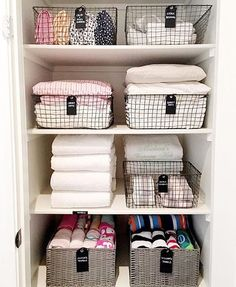 "937 Likes, 12 Comments - DEBORAH SHEARER (@theorganizingstore) on Instagram: ""Crazy, we know, but organized linen closets just make us so dang happy  p