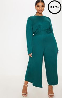 3aeacc9ea91 Plus Emerald Green Twist Front Culotte Jumpsuit Green Top Outfit
