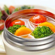 スープジャーで作る簡単はるさめスープ Soup In A Jar, Bento, Cantaloupe, Fruit, Vegetables, Cooking, Recipes, Food, Kitchen