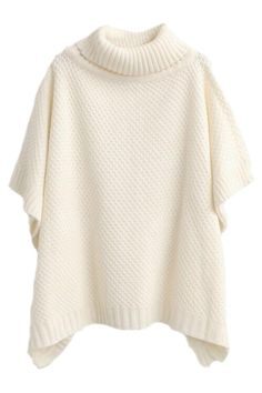Women's Casual Knit Turtleneck Loose Fit Poncho Sweater