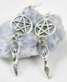 Pagan Jewelry Silver Spiral Goddess and Pentacle by ChrysalisGoddess Witch Jewelry, Pagan Jewelry, Silver Jewelry, Wiccan Rituals, Twist Weave, Candle Spells, Goddess Art, White Magic, Bricolage