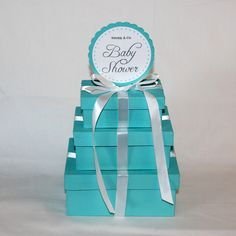 Tiffany Blue Baby Shower -- Box Centerpieces