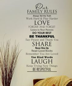 'Family Rules' Wall Quote