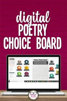 Create an interactive digital poetry choice board in less than 2 minutes! Choose from 11 different included projects to use with nearly any poem. Perfect for teaching poetry via remote learning! #ELA #teachingpoetry #choiceboard #homeworkmenu #distancelearning #TheLittlestTeacher English Teaching Resources, Writing Resources, English Activities, Learning English, English Lesson Plans, Free Lesson Plans, Digital Poetry, Poetry Projects, Poetry Activities