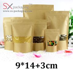 9cm 14cm HD brown kraft paper stand up pouch with zipper