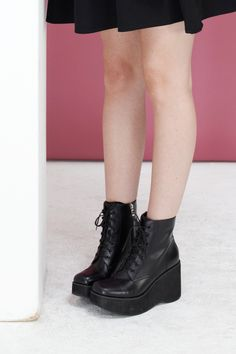 Leather Platform Wedge Boot Black by THE WHITEPEPPER http://www.thewhitepepper.com/collections/shoes/products/leather-platform-wedge-boot-black