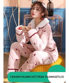 pyjamas Female Winter Three-tier Thickened Warm Keeping Flannel Suit for  Fall and Winter Outside c88d067e4