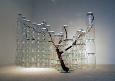 Tree branches in jars, by Naoko Ito
