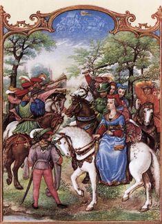 Le fatiche di Maggio: cavalcata per la festa della primavera - Breviario Grimani - manoscritto miniato - scuola Gand-Bruges - 1490-1510 -  Venezia - Biblioteca Nazionale di San Marco.