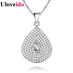 Find More Pendant Necklaces Information about Uloveido 15% off Wedding Collares Necklace Female Pendant Silver Necklaces & Pendants Colar Feminino Gifts for Women Sale PN4327,High Quality Pendant Necklaces from Uloveido Official Store on Aliexpress.com