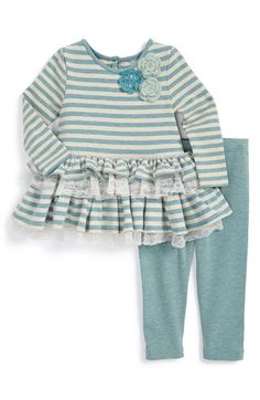 Pippa+&+Julie+Stripe+Dress+&+Leggings+(Baby+Girls)+available+at+#Nordstrom