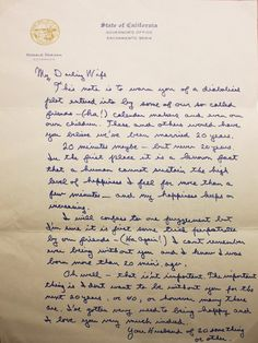 Ronald Reagan's love letter to his wife on the eve of their 20th wedding anniversary