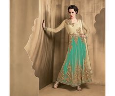 Blue Poly Georgette Frock Suit.