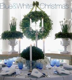 blue and white christmas